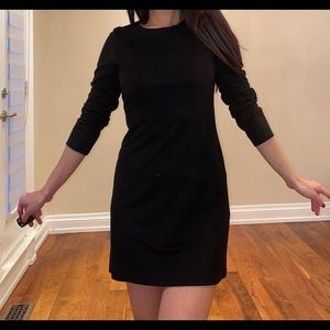 Black suede style mini dress long sleeve
